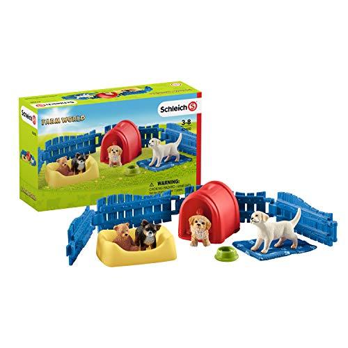 Schleich 42480 Farm World Spielset - Welpenstube, Spielzeug ab 3...