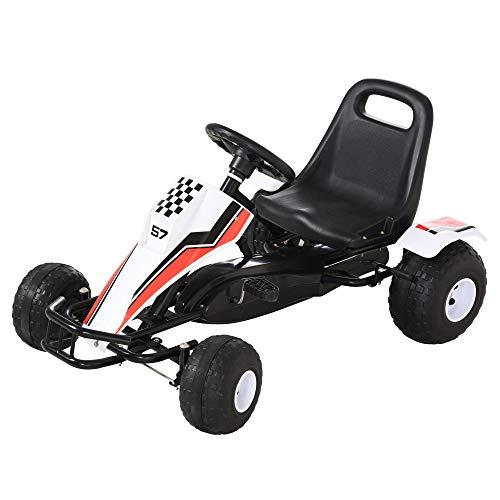 HOMCOM Go Kart Kinderfahrzeug Tretauto mit Pedal Bremsen Sitz...