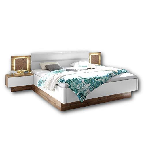 Capri Stilvolle Doppelbett Bettanlage mit LED-Beleuchtung 180 x 200 cm...