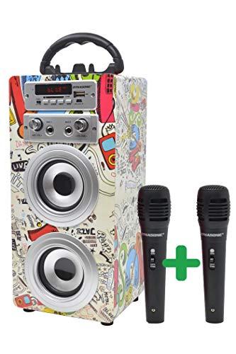 DYNASONIC Bluetooth Lautsprecher für Karaoke Kinder Anlage MP3 Player...