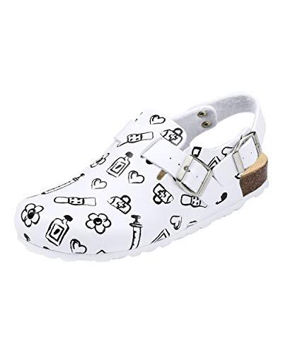 CLINIC DRESS Clog - Clogs Damen bunt weiß Motiv. Schuhe für...