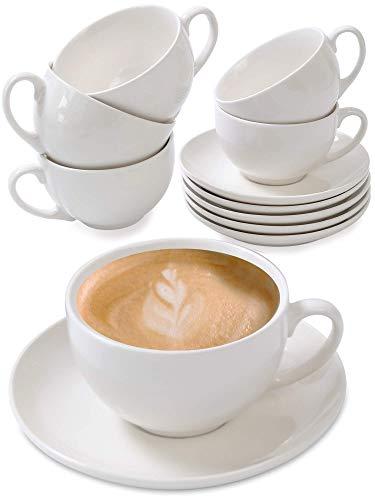 Cappuccino Tassen 6er Set aus Keramik Weiß - Mit Untertassen - Hält...