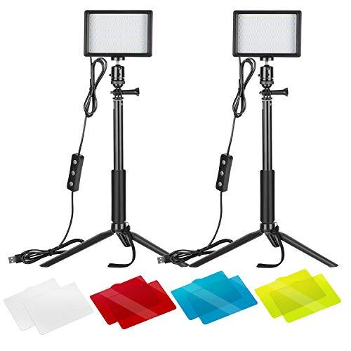 Neewer 2er-Pack dimmbares 5600K USB-LED-Videolicht mit verstellbarem...
