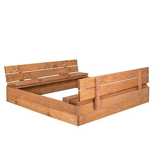 SPRINGOS Sandkasten mit Sitzbank, 120 cm x 120 cm, Abdeckung, Holz,...