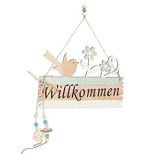 com-four® Türschild Willkommen - Deko-Schild Frühling aus Holz mit...
