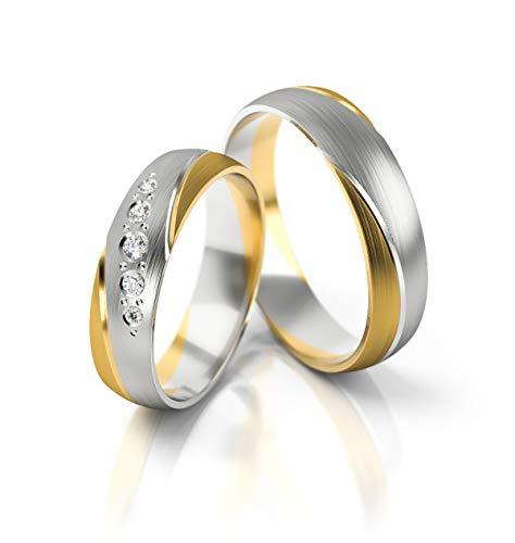 JC Trauringe Gold 585 Paarpreis Bicolor Gelbgold Weißgold I Eheringe...