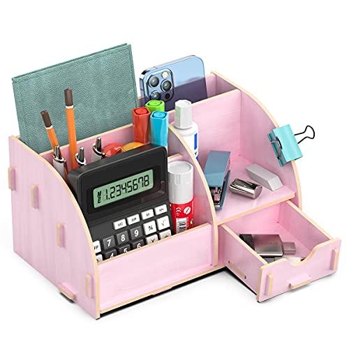 Lesfit Schreibtisch Organizer Holz, Büro Tisch Organizer für...