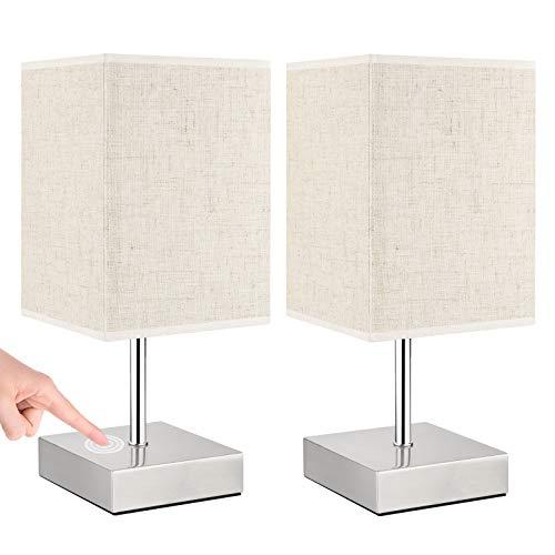 Lovebay 2 Stück Nachttischlampe touch dimmbar, Warmweißem Moderne...