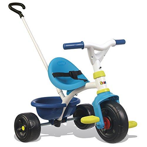 Smoby 740323 Be Fun Dreirad blau Kinderdreirad mit Schubstange, Sitz...