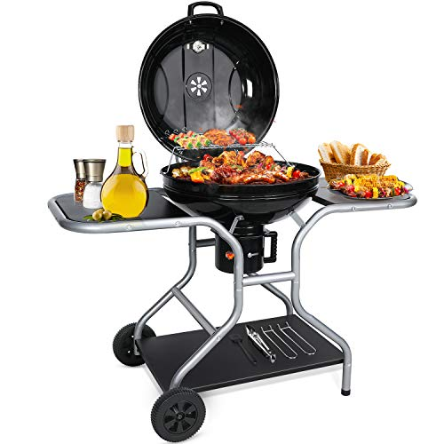 Aiglam BBQ Grill, Holzkohlegrill Kugelgrill 58cm Babecue Grill BBQ...