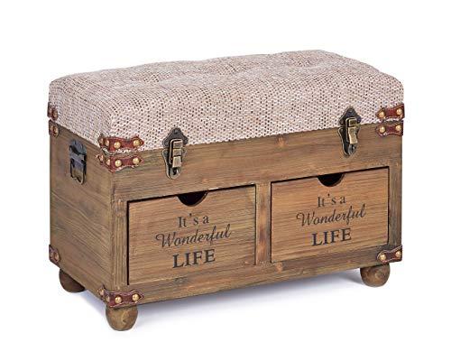ts-ideen Vintage Sitzbank Sitztruhe Gepolstert mit 2 Schubladen und...