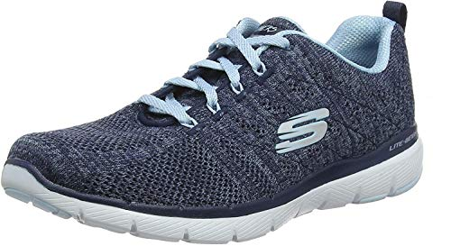 Skechers Women's Flex Appeal 3.0-high Tides Trainers, Blue (Navy Knit...