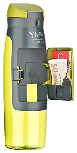 YOUMEFIT Trinkflasche mit Fach - 750ml - Sport Wasserflasche –...