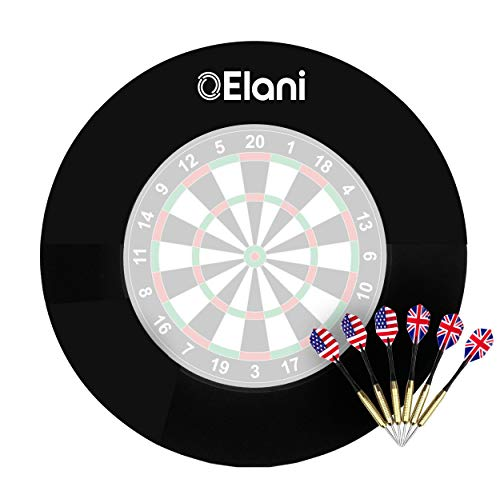 ELANI ® Dartscheibe Schutzring Dart Zubehör inkl. 6 Steeldarts und...