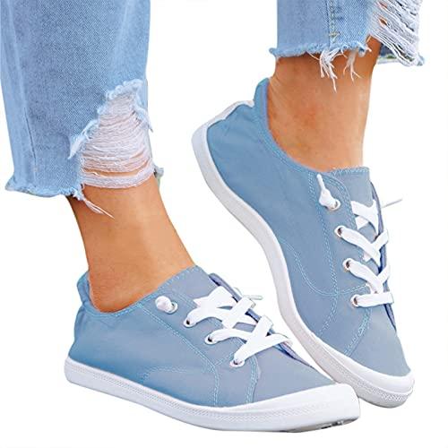 Dasongff Damen Flat Schuhe Loafers Canvas Sneaker Bequeme...