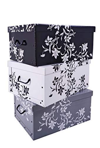 3er Set Aufbewahrungsbox in 3 Farben (weiß, schwarz und grau) mit...