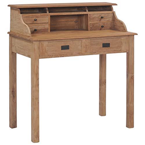 vidaXL Teak Massivholz Schreibtisch mit 6 Schubladen Fächern...