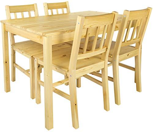 Leomark Tisch und 4 Stühlen Kiefer, Essgruppe - Natur PINIE -...
