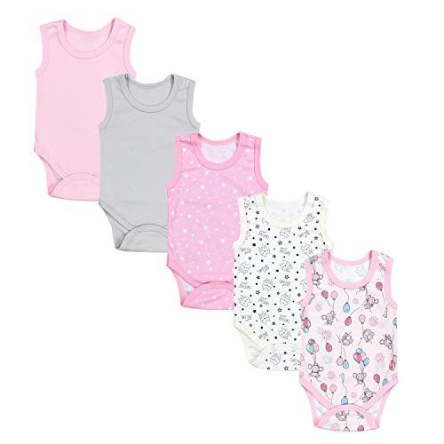 TupTam Baby Mädchen Achselbody in Unifarben 5er Pack, Farbe:...