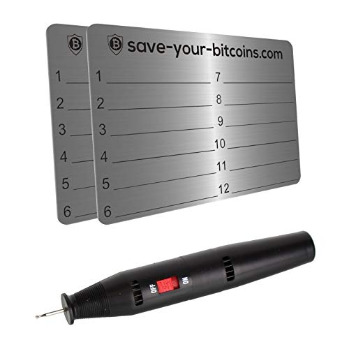 Save-Your-Bitcoins Hardware Wallet Seed Phrase - Recovery Metallplatte...