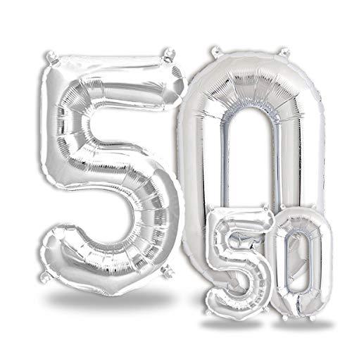 FUNXGO® Party Dekoration Folienballon Zahlen in Silber -100cm+40cm-...