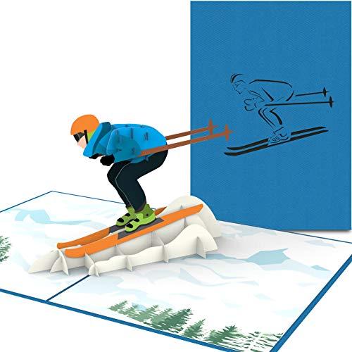 PaperCrush® Pop-Up Karte Skifahrer - Handgemachte Gutscheinkarte für...