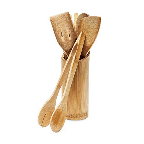Relaxdays Küchenhelfer Set Bambus 7-teilig 30 cm lang als Kochlöffel...