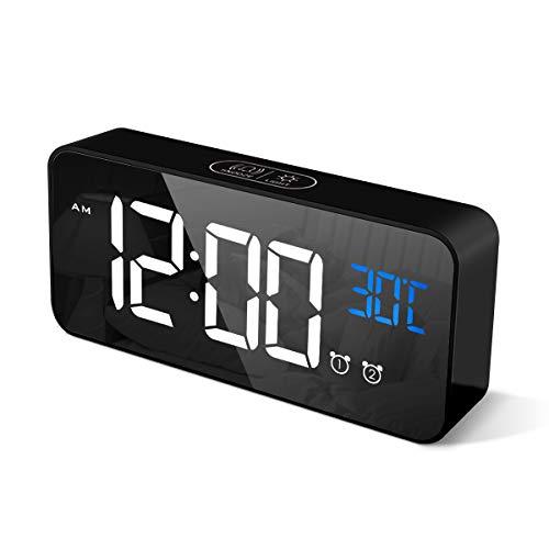 CHEREEKI Digitaler Wecker, LED Digitaluhr mit Temperaturanzeige...