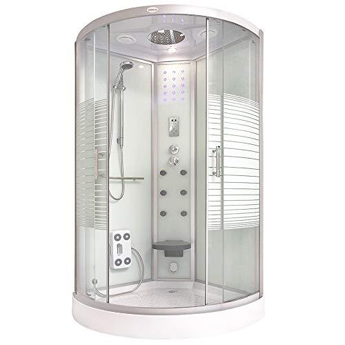 Home Deluxe - Dampfdusche 100x100 - Komplettdusche White Pearl mit...