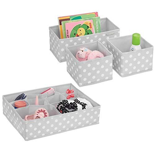 mDesign 4er-Set Aufbewahrungsboxen Stoff – Schubladenboxen mit...