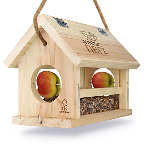 wildtier herz   Vogelfutterhaus M Handarbeit aus Natur-Holz für...