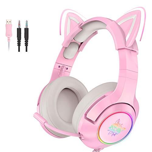 Pink Gaming Headset Katzenohren mit Mikrofon, Abnehmbarer Cat Ear...