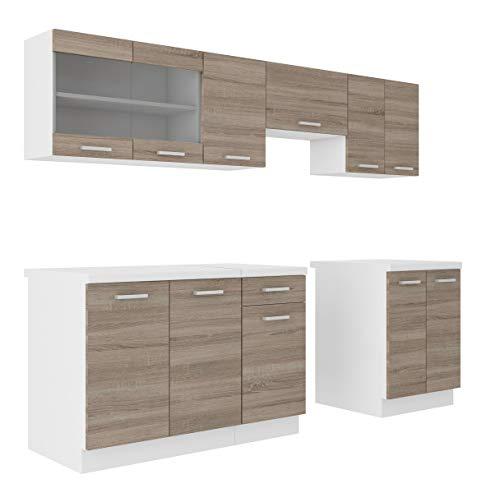 Küche Dave 240 cm Küchenzeile/Küchenblock variabel stellbar in...