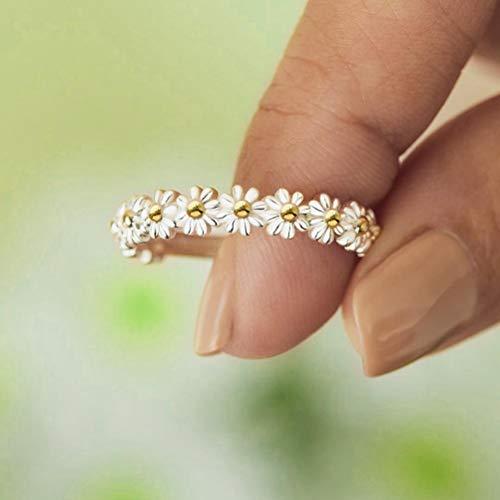 YINLANG Ring, süßes süßes Gänseblümchen-Blumenring verstellbares...