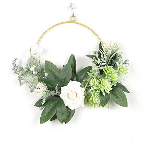 SHOUBIAOD Trockenblumen Kranz, Metallring Deko, Künstliche Blume...