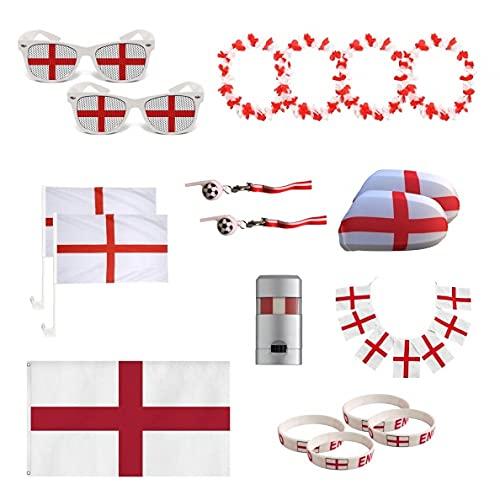 UMOI England Fanartikel Set zur Europameisterschaft 2021 WM, Fanmeile,...