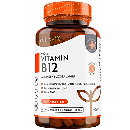Vitamin B12 500mcg - Aktive Form Methylcobalamin - 365 Tabletten -...