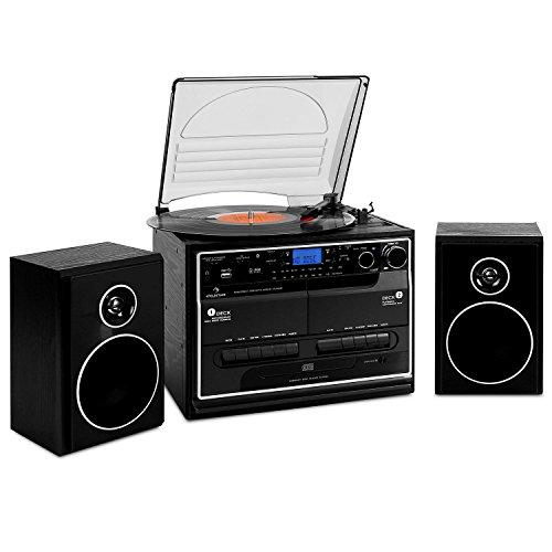 auna 388-BT Stereoanlage mit Plattenspieler Musikanlage...