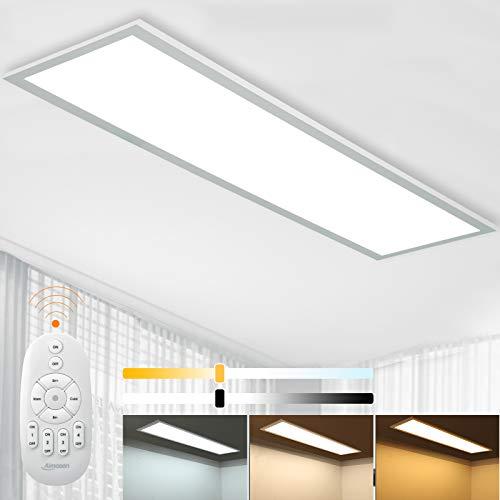 Dimmbar LED Deckenleuchte Panel 100x25 cm mit Fernbedienung, 28W...