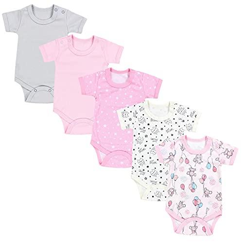 TupTam Mädchen Baby Body Kurzarm in Unifarben - 5er Pack, Farbe:...
