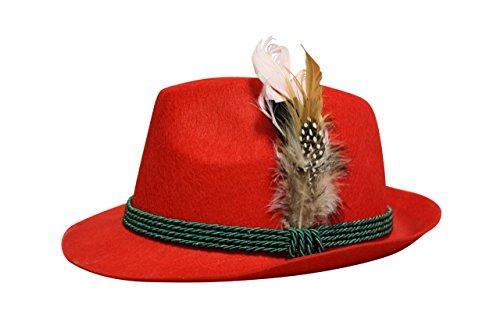 Edelnice Trachtenmode Trachten Filzhut mit echter Feder, Farbe rot