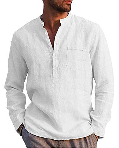 AUDATE Leinenhemd Herren Henley Shirt Herren Freizeithemden Langarm...