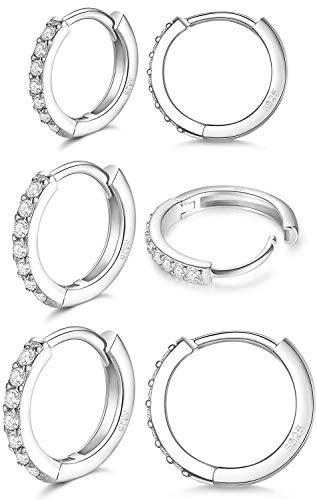 LIHELEI Silber Creolen Ohrringe für Damens, S925 Sterling Silber...