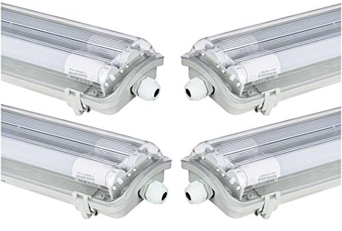 4x G13 LED Feuchtraumleuchte 2x T8 LED, 36W 3600LM 120cm, IP65 LED...