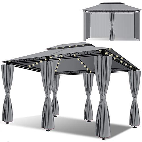 KESSER® - Pavillon 3x4m LED inkl. Seitenwände mit Reißverschlüsse,...