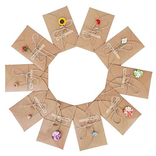 Grußkarten 10 Stück Grußkarte Set Blanko Handgemachte Retro...