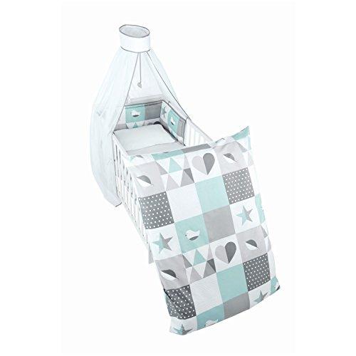roba Kinder-Bettgarnitur 4-tlg, Babybett-Ausstattung 'Happy Patch...