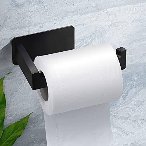 Toilettenpapierhalter, AURUZA Klopapierhalter Schwarz Selbstklebend...
