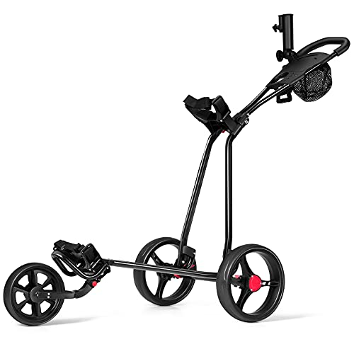 COSTWAY 3-Rad Golftrolley klappbar, Golfwagen mit verstellbarem Griff,...