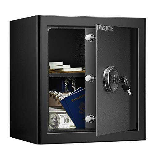 38.5L Tresor Safe WASJOYE mit 3 Doppelstahlbolzen, elektronischem...